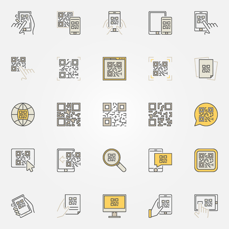 QR Code colorful icons set - vector code scanning creative signs or design elements. Smartphone quick response code symbols Illustration