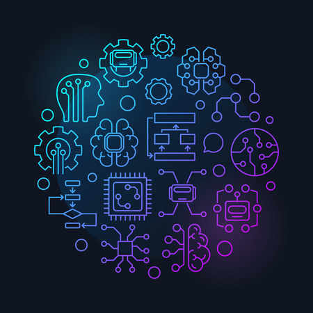 Artificial intelligence round vector colorful linear illustration or sign on dark background