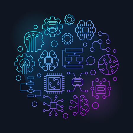 Bunte lineare Illustration oder Zeichen des runden Vektors der künstlichen Intelligenz auf dunklem Hintergrund