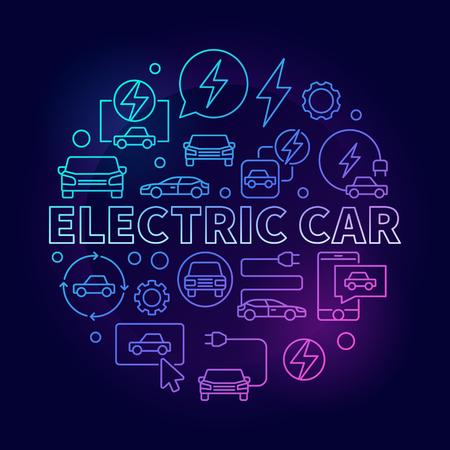 Electric Car round colorful illustration - vector EV concept line symbol on dark background Illustration