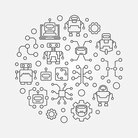 Artificial intelligence round illustration - vector technology concept symbol made with robots and AI icons
