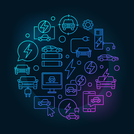 Electric vehicle round blue illustration - vector circular concept symbol made with automobile and EV outline icons on dark background Illustration
