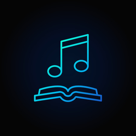 Musical note with open book blue icon.