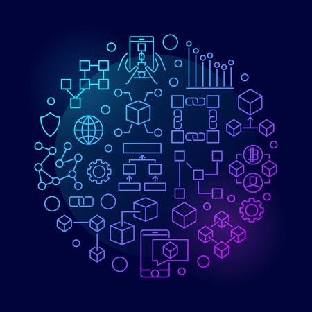 Colorful blockchain concept circular vector symbol