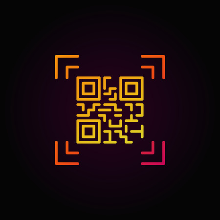 Qr code scanning colorful outline vector icon or logo element Illustration