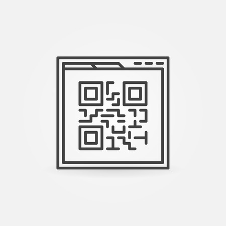 Webpage Qr code vector linear icon Illustration