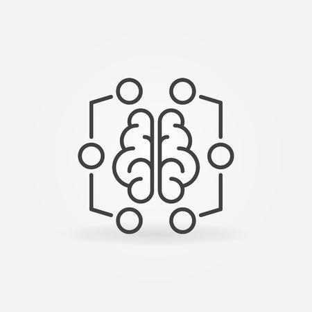 Digital brain minimal icon - vector machine learning sign