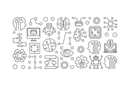 Artificial Intelligence and machine learning vector illustration