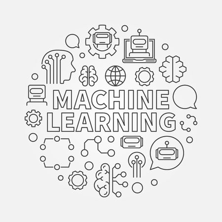 Machine learning vector round concept illustration in thin line style