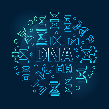 DNA round vector science blue illustration in linear style on dark background Illustration