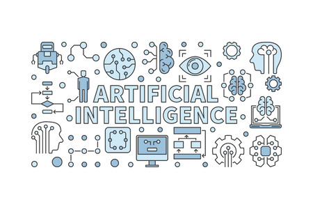 Artificial intelligence illustration and computer brain horizontal banner on white background Ilustrace