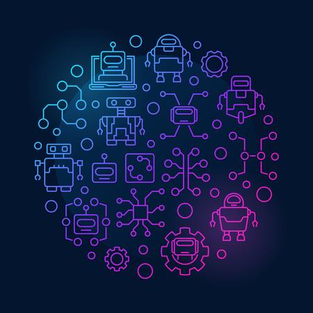 Artificial intelligence round colorful illustration. Illustration