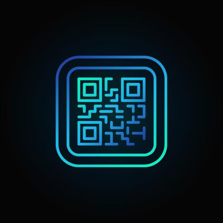 Blue QR Code modern linear icon.