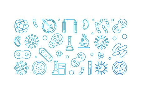 Viruses blue outline banner made with virus icons