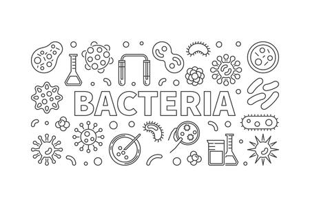 Bacteria horizontal thin line illustration. Vector concept banne Illustration