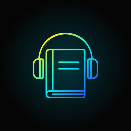 Headphones with book colorful icon 向量圖像