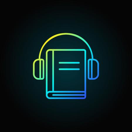 Headphones with book colorful icon Ilustração