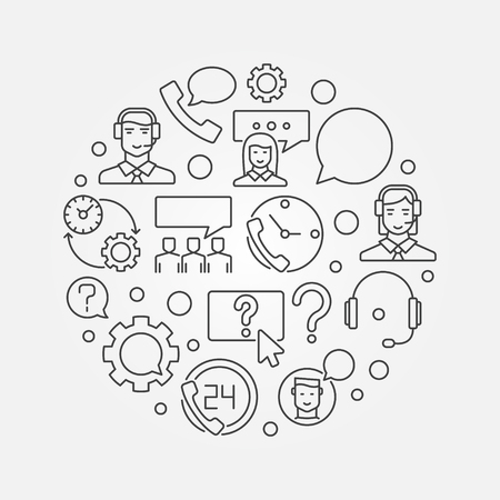 Customer service round vector illustration