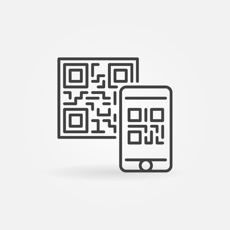 Mobile phone scanning QR code vector concept icon or symbol