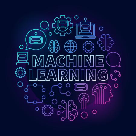Machine learning colorful vector circular linear illustration 免版税图像 - 90298486