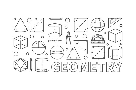 Geometry vector concept line horizontal banner Illustration