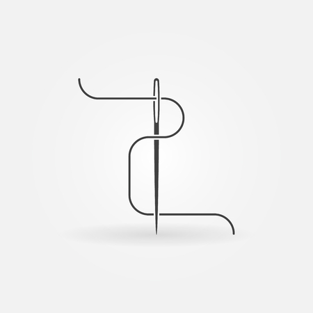Needle and thread vector icon or symbol