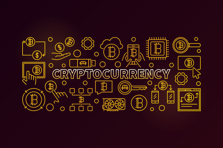 Cryptocurrency vector golden illustration Illustration