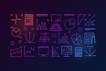 Algebra and mathematics colorful vector illustration