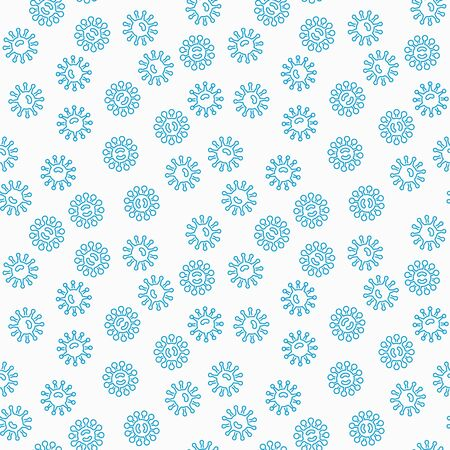 Harmful blue bacteria vector seamless pattern Illustration