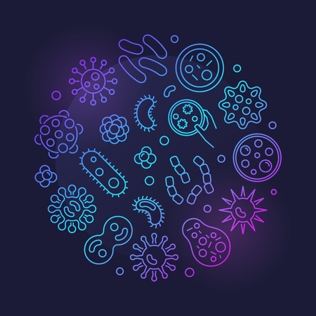 Bacteria vector round colorful symbol made with bacterias icons