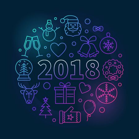 Happy New 2018 Year vector round colored illustration Illustration