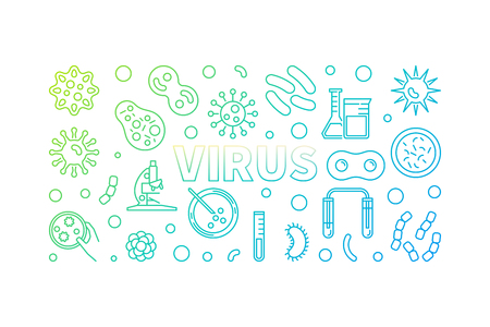 Virus colored horizontal linear illustration or banner