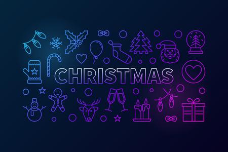 Christmas colored outline vector horizontal banner Illustration