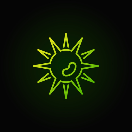 Green bad bacteria vector icon in line style