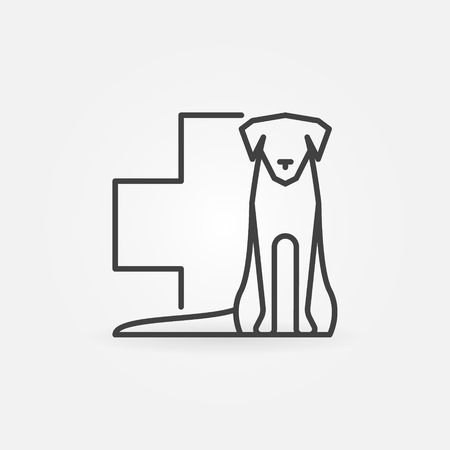Dog with veterinary cross icon