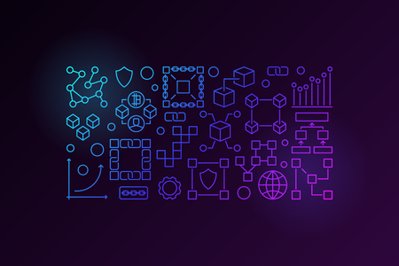 Blockchain horizontal colorful outline banner or illustration  イラスト・ベクター素材