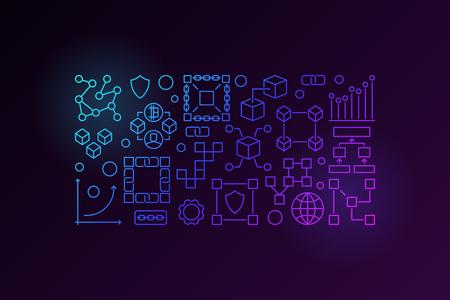 Blockchain horizontal colorful outline banner or illustration Illustration