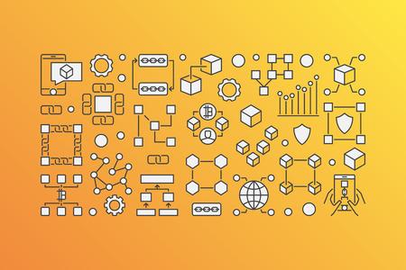 Blockchain modern banner - vector block-chain technology