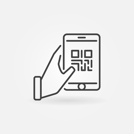 Hand holding smartphone with QR code vector icon
