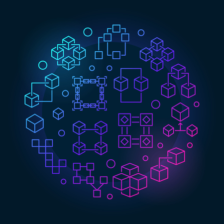 Block chain technology colored symbol. Vector blockchain round illustration in outline style on dark background