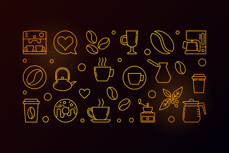 Vector coffee yellow horizontal banner or illustration in thin line style on dark background Illustration