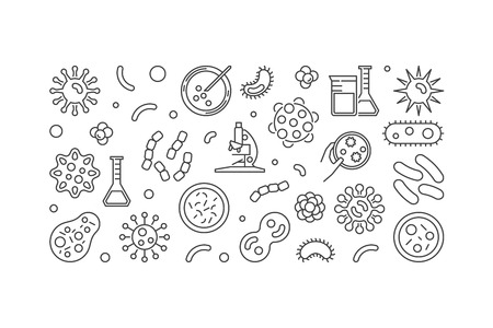 Bacteria vector illustration or horizontal banner made with bacterias and microbes concept icons on white background Çizim