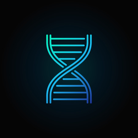 Blue DNA strand vector outline icon or logo element on dark background