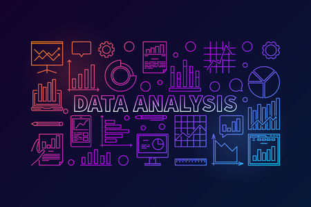 Data Analysis vector colorful modern banner or illustration in outline style on dark background
