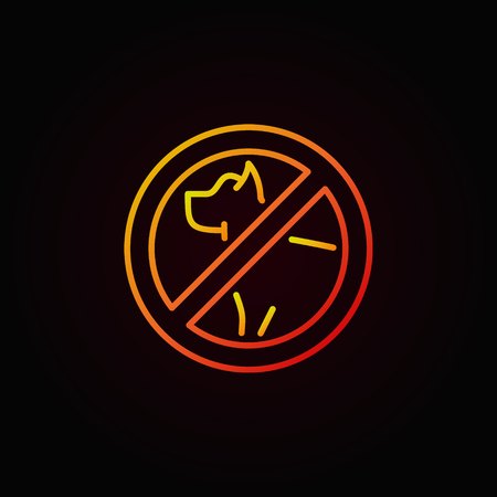 No dog colorful outline icon.