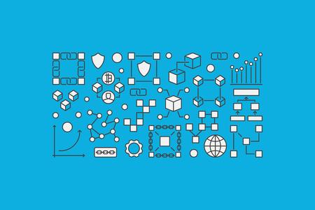 Block chain creative banner or illustration on blue illustration.