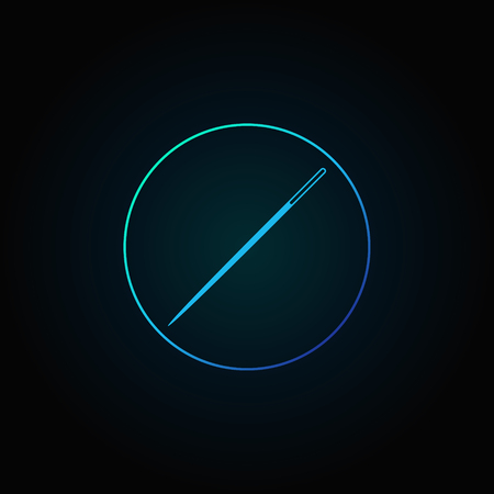 Blue needle in circle icon.