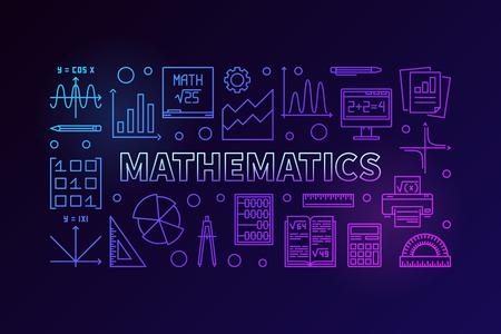 Mathematics line colorful horizontal banner.