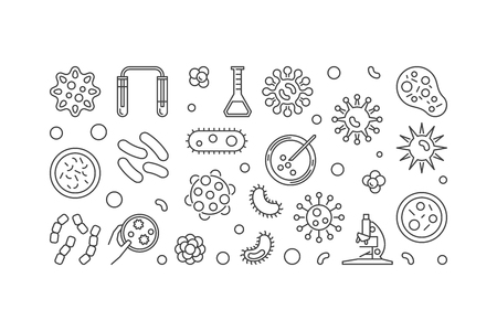 Microbe illustration made with bacterias and microbes icon. Illustration