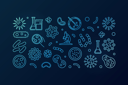 Bacteria blue illustration or horizontal banner.